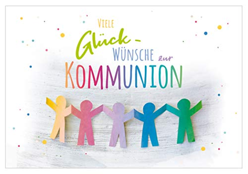 KE - Kommunionswünsche - Kommunion Karte - für Jungen & Mädchen - im Format DIN B6 176 x 125 mm - inkl. Umschlag - Motiv: bunt