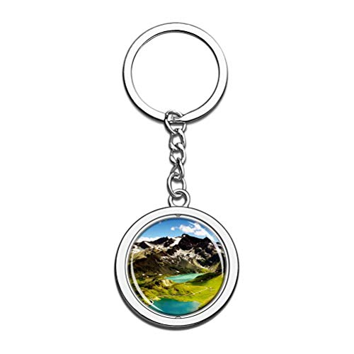Ceresole Lake Alps - Llavero con cadena de metal y acero inoxidable, ideal como regalo de viaje