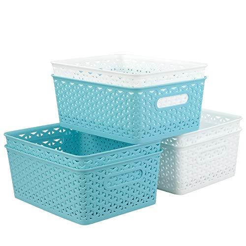 Vcansay 8 Litre Plastic Storage Baskets for Cupboard/Shelf/Closet, White and Light Blue, 6 Packs