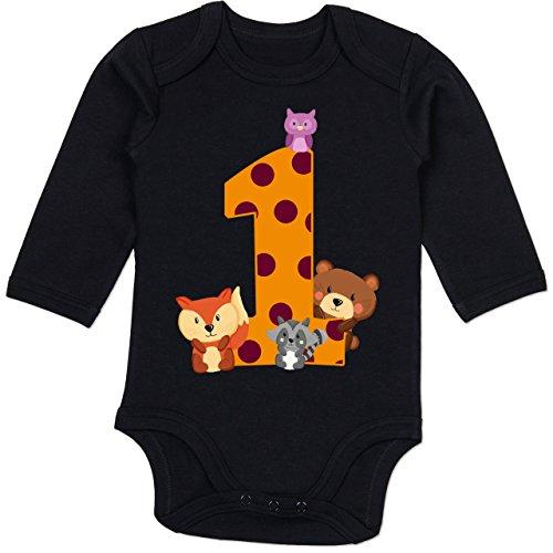 Shirtracer Geburtstag Baby - 1. Geburtstag Waldtiere - 6/12 Monate - Schwarz - 1. Geburtstag Junge Langarm Body - BZ30 - Baby Body Langarm