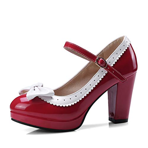 HILIB Mary Jane Damenschuhe mit hohem Absatz, süße Schleife, Mary Jane, Rot (rot), 35.5 EU