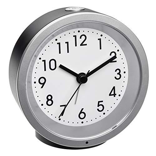 TFA Dostmann Analoger Wecker, 60.1034.01, mit Sweep-Uhrwerk, Nachtbeleuchtung, Weckalarm mit Snooze-Funktion, schwarz, (L) 103 x (B) 39 x (H) 99 mm