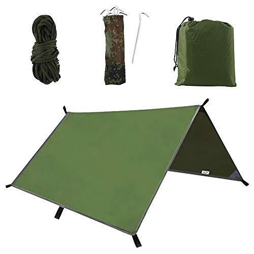 N/G Tienda de campaña multifuncional impermeable con mosca de lona, hamaca para lluvia, tienda de campaña de 300 cm x 300 cm, antiUV, ligera, para camping, refugio al aire libre, color verde