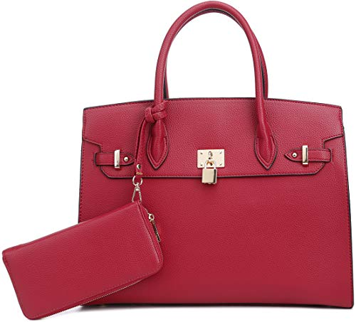 DELUXITY Women's Designer Top Handle Satchel Handbag Tote Bag Briefcase 2pc set | Red