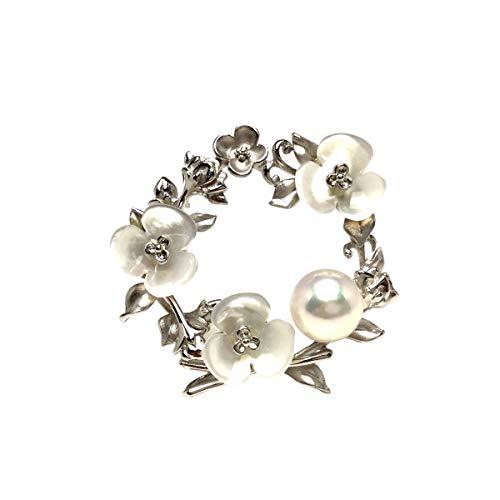 Isowa Pearl(伊勢志摩の真珠専門店 イソワパール) アコヤ真珠 ブローチ 9.5mm ホワイトピンク シルバー シェル 植物 67397