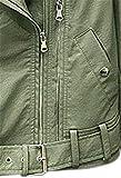 JIER Damen Lederjacke mit Reverskragen Biker Jacke mit Gürtel Kunstleder Jacke Faux Leather Jacke Bikerjacke Lederjacke Mantel Outwear Jacken (Grün,Large) - 6