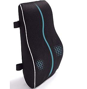 Cojín de espuma viscoelástica para aliviar el dolor de espalda Mejorar la postura Almohada de apoyo lumbar para silla de oficina Escritorio de coche con correas ajustables dobles