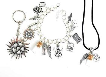 Supernatural Charm Bracelet Necklace and Key chain Set.