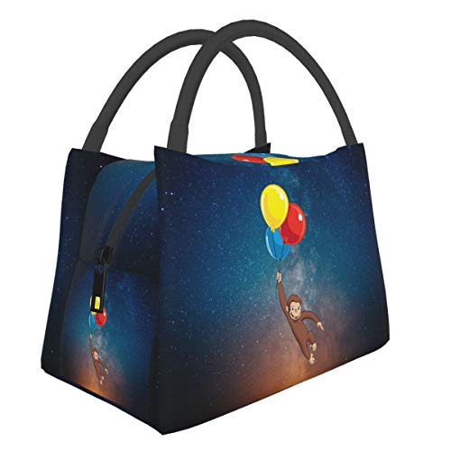 Lengyuye E Curious George Toddler Reusable Portable Insulation Bag Bento bag Cooler Bag