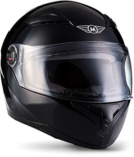 """Moto Helmets® X86 """"Gloss Black"""" · Integral-Helm · Full-Face Motorrad-Helm Roller-Helm Scooter-Helm · ECE Visier Schnellverschluss Tasche XS (53-54cm)"""