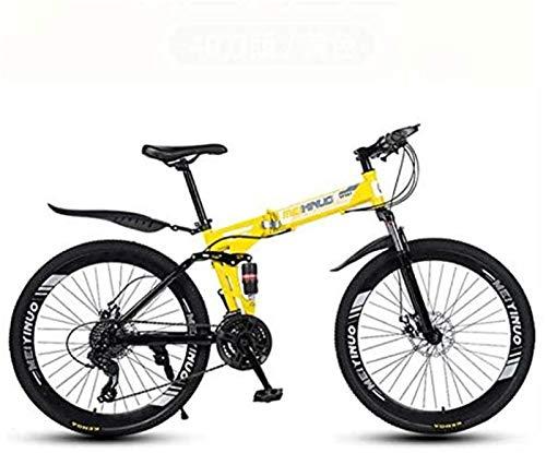 HCMNME Bicicleta Duradera Bici de montaña Plegable de la Bicicleta, Suspensión Completa...