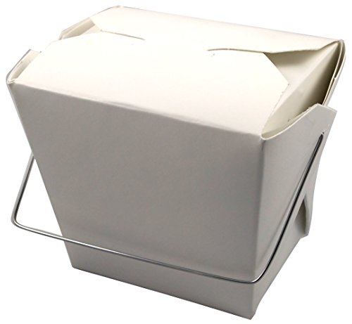 "Fold-Pak 16WHWTWSTM Paper Wire-Handled Food Pail, 3"" Length x 2-1/8"" Width x 3-1/4"" Height, 16-Fluid Ounce Capacity, White (Case of 500)"
