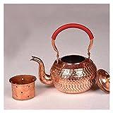 QINGGANGLING999 Jarras de té Juego de té de té Chino de té de Cobre Rojo Juego de té Hecho a Mano Brew Pot con Tetera de Drenaje de té para la Estufa de cerámica eléctrica Teteras (Size : 600ML)
