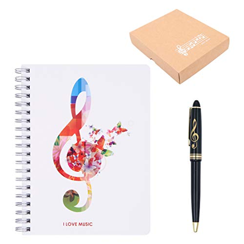 Adorable Music Piano Melody Theme Stationery Gift Box Set,1 Pcs Black Piano Musical Notes Notebook with 1 Pcs Treble Clef Design Roller Ball Pen (White Music Note Style)