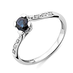 Elegantly crafted in high quality 9 ct white gold for a lustrous silver grey tone and rich shine Sapphire, September's birthstone, is a precious gemstone that is available in various colours most commonly shades of blue and pink Hallmarked by the Lon...