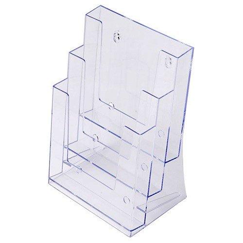 Prospekthalter DIN A5 dreistufig, Aufsteller Prospektständer Flyerhalter Acryl glasklar Prospekthalter A5