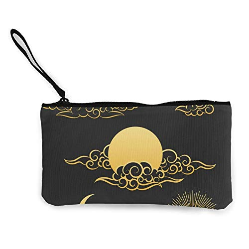 Geldbörse aus Segeltuch, mit Reißverschluss, Motiv: orientalische Goldwolken, Sonne und Mond, mit Griff