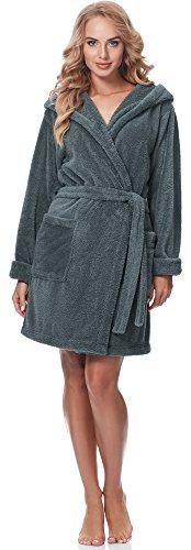 Merry Style Damen Bademantel mit Kapuze 1GN2S (Graphite, XL)