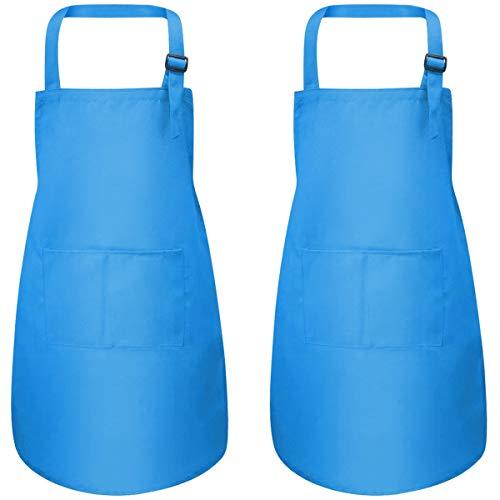 Fodlon 2 Stück Blau Kinder Schürzen mit Taschen, Verstellbare Kleinkind Kochschürze für Jungen Mädchen, Küchenschürze Malschürze, Kinder Künstler Schürzen für Basteln Malen Backen Kochen (7-13 Jahre)
