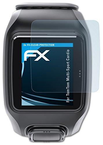atFoliX Lámina Protectora de Pantalla Compatible con Tomtom Multi-Sport Cardio Película Protectora, Ultra Transparente FX Lámina Protectora (3X)