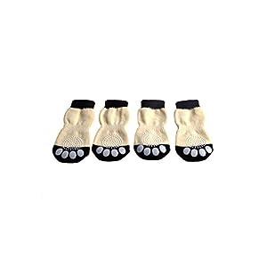 Qiuxiaoaa Pet Footprints Chaussettes Anti-Scratch Bite 4 Morceaux Sneakers pour Animaux de Compagnie Chien Chaussons Motif Anti-Glissement Chaussettes Chaussettes Paws Couverture Chaussures