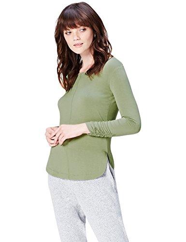 Marca Amazon - find. Camiseta de Manga Larga y Cuello Redondo Mujer, Verde (Leaf), 42, Label: L