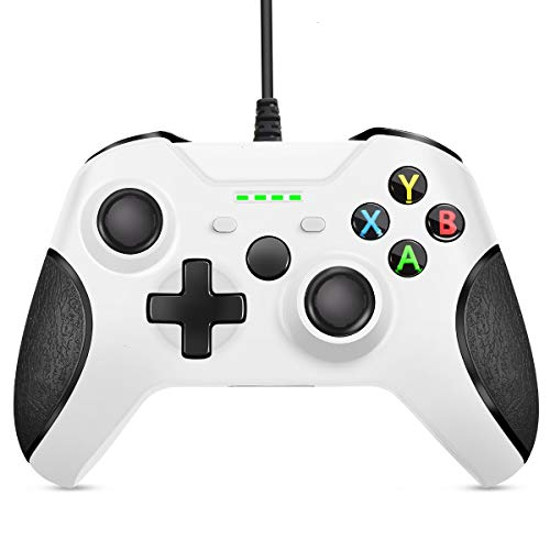 VOYEE Wired Controller Compatible with Xbox One/X/S/PC Windows 10/8/7, with Headphone Jack/Double Shock/Upgraded Joystick - White