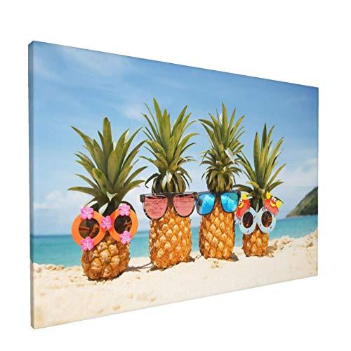 Olverz Pintura de pared con marco abstracto para gafas de sol, diseño de piña de playa, moderno, para decoración de pared, hogar y oficina, tamaño enmarcado 30,4 x 45,7 cm