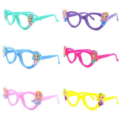 gotyou 6 Stück Kinder Cartoon Brillengestell, Kreative Multicolor Brillengestell,Cartoon Meerjungfrau Brillengestelle,Dekoration Brillen Party Geschenk,Brillengestelle Foto Prop Spielzeug