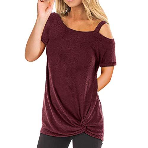 IZHH Damen Kurzarm T-Shirt Einfarbig Elegant Sling Tee Slim Freizeit Long Shirt Wild Oberteile Tops Cold Shoulder Blouse(Wein,L)