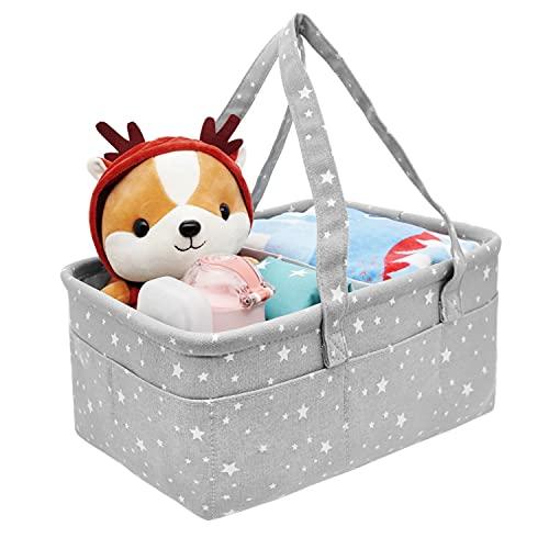 Bebé Organizador de Pañales Portátil Cesta Almacenamiento Ajustables Regalo Recién Nacidos Pañales y Toallitas Alfombra Cambiador Cesta 42*28*18cm