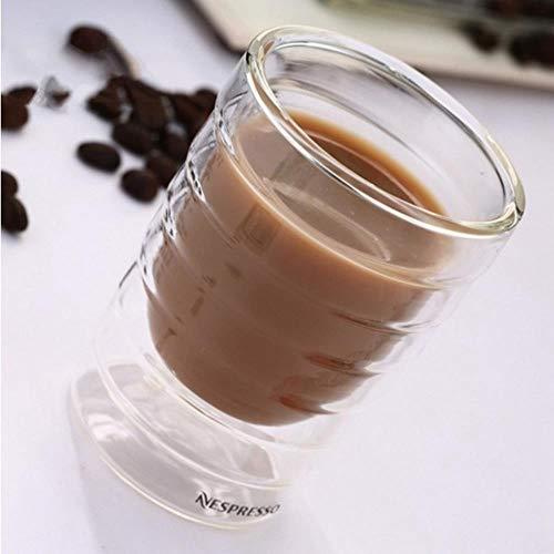ning88llning5 Bicchieri Proteine Del Siero Di Latte A Doppia Parete Soffiate A Mano Tazza Di Caffè Tazza Di Caffè Tè Termico Bicchiere Bevanda Al Latte, Trasparente, 150 Ml
