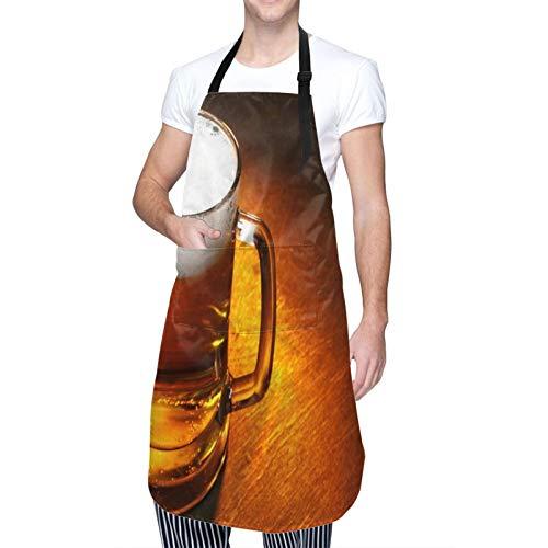 DAHALLAR Ajustable Colgante de Cuello Personalizado Delantal Impermeable,Jarra de cerveza de cerca sobre la mesa de madera,Babero de Cocina Vestido para Hombres Mujeres con 2 Bolsillos Centrales