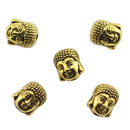 Tegg 30PCS Zinc Alloy Buddha Head Beads for Jewelry Making and Making DIY Antique Golden 9x11mm