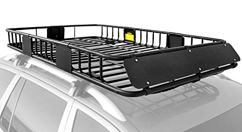 XCAR Roof Rack Carrier Basket Rooftop Cargo Carrier with Extension Black Car Top Luggage Holder 64'x 39'x 6' Universal for SUV Cars