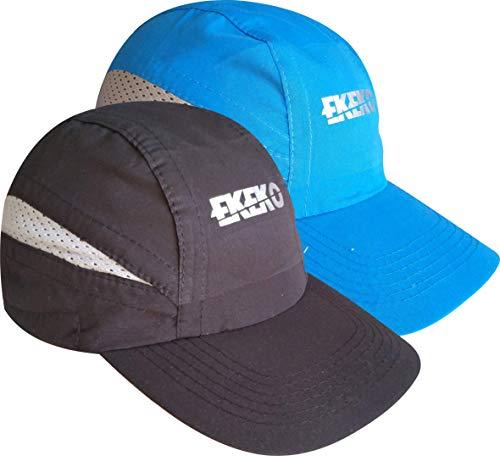 EKEKO Pack x 2 Unidades Gorra T Race, Gorra de Running, Playa y Deportes en General. con Goma de sujecion Regulable con Clip. (Negra/Azul)