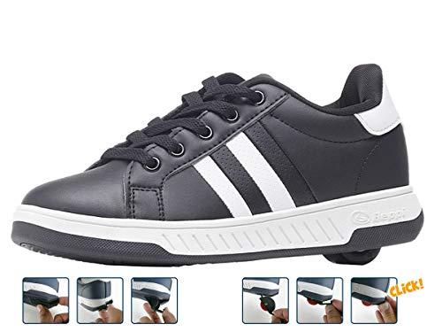 Breezy Rollers 2176241, Rollschuh, Schuhe mit Rollen, 2-in-1 Kinderschuhe, Skateboardschuhe, Sneakers (schwarz, Numeric_35)