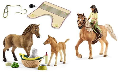 3in1-SET Schleich Pferde Horse Club - Sarah & Mystery mit Tierbaby-Pflege und extra Pferdedecke 42414 + 42432 + 42462