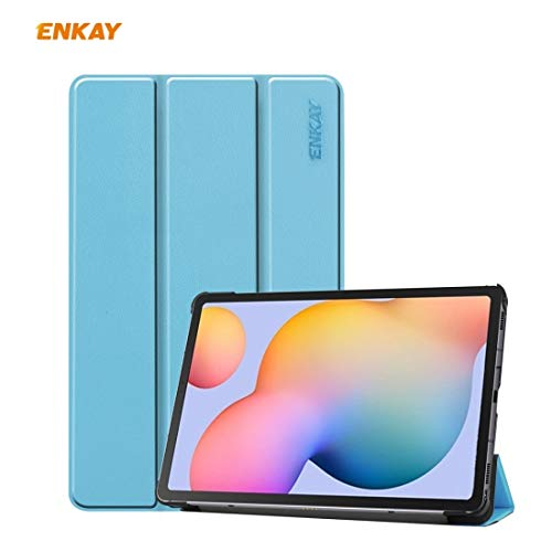 leluckly1 For Outdoor Travel ENK-8002 For Samsung Galaxy Tab S6 Lite P610 / P615 PU Leather + Plastic Smart Case with Three-folding Holder, All buttons match(Black) (Color : Light Blue)