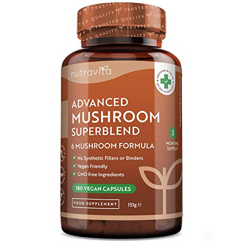 Advanced Mushroom Supplement - 6 Mushrooms Chaga, Cordyceps, Shiitake, Reishi, Maitake and Lions Mane Mushroom - 960mg per Serving - 180 High Strength Vegan Capsules - Made in The UK by Nutravita