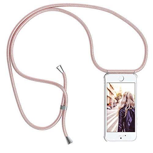YuhooTech Handykette Kompatibel mit iPhone 7/ iPhone 8/ iPhone SE 2020, Smartphone Necklace Hülle mit Band - Handyhülle mit Kordel Umhängenband - Schnur mit Case zum umhängen in Rose Gold