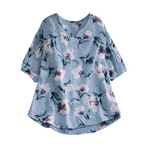 CUTUDE Chemisier Femme Manches Courtes T-Shirts Vintage Été Col V Tee Grande Taille Imprimer de Fleurs Loose Tops Polo Gilet Tunic Chemise Tunique, S-5XL (XXXXL, Bleu Ciel)