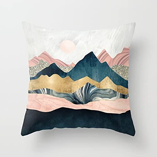 MissW Funda De Almohada Moderna Simple Geométrica Montaña Pico Sol Ballena Impresión Abstracta Poliéster Funda De Cojín para Sofá En Casa Sin Núcleo