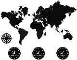 qiuqiu Reloj De Pared De Acrílico con Mapa del Mundo 80x65cm, Reloj De Pared Separado, Reloj De Pared Negro con Zona Horaria Personalizada, Decoración De Pared En Blanco/Mural