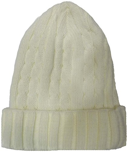Neuf Woolly Winter Turn Up Bonnet Uni Chapeaux - Blanc - Taille unique