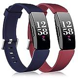 Vobafe 2 Pack Correa Compatible con Fitbit Inspire Correa/Inspire HR Correa, Suave Silicona Correa Deportes Recambio Compatible con Fitbit Inspire/Inspire HR/Inspire 2/Ace 2, S Vino Rojo/Azul Oscuro