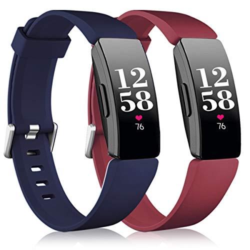 Vobafe 2 Pack Compatible avec Fitbit Inspire Bracelet/Inspire HR Bracelet, Sport en Silicone Souple Bracelet Compatible avec Fitbit Inspire/Inspire HR/Inspire 2/Ace 2, Grand Vin Rouge/Bleu