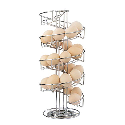 Toplife Spiral Design Stainless Steel Egg Skelter Dispenser Rack,Storage Display Rack,Silver