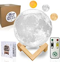Moon Lamp Moon Light 3D Moon Lamp - [USA Seller] [Upgrade] 3 Color Moon Night Light with Stand - Mood Lamp Book, Globe, Cool Lamp, 7.1 in, USB Charging, with Wooden Stand, Box, Kids, Moonlight LED