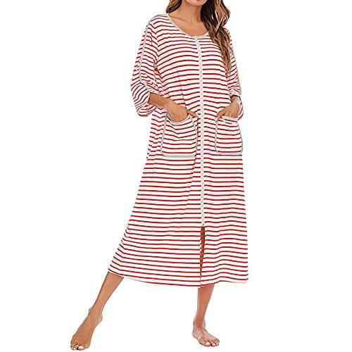 Camisón de mujer con cremallera y cuello redondo a rayas, pijama de longitud completa con bolsillos